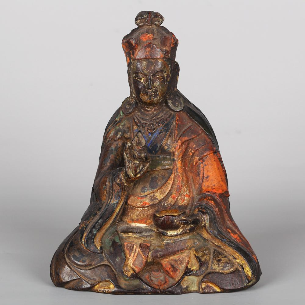 CHINESE WOOD CARVED BUDDHIST FIGURINE