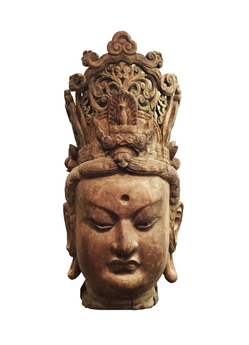 CHINESE HARDWOOD CARVED BURST OF GUANYIN