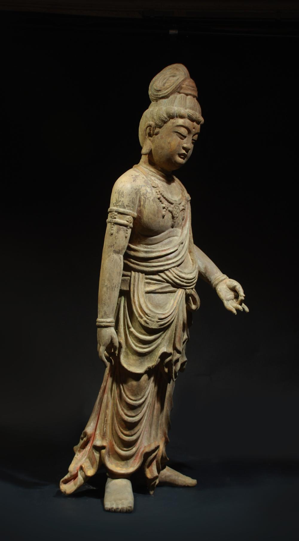 CHINESE LARGE HARDWOOD BUDDHIST FIGURINE