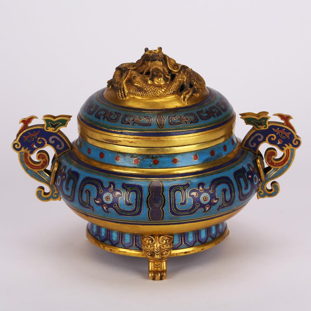 CHINESE CLOISONNE COVER CENSER