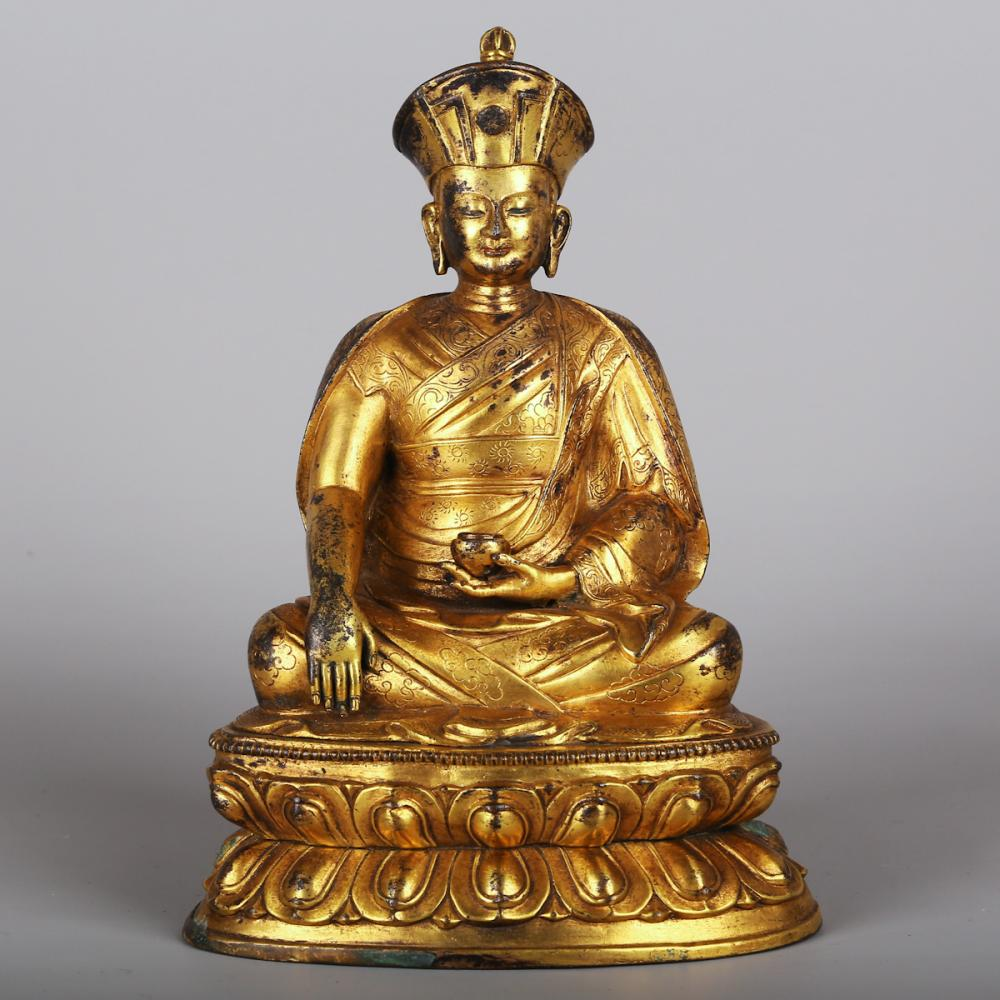 CHINESE GILT BRONZE BUDDHIST FIGURINE