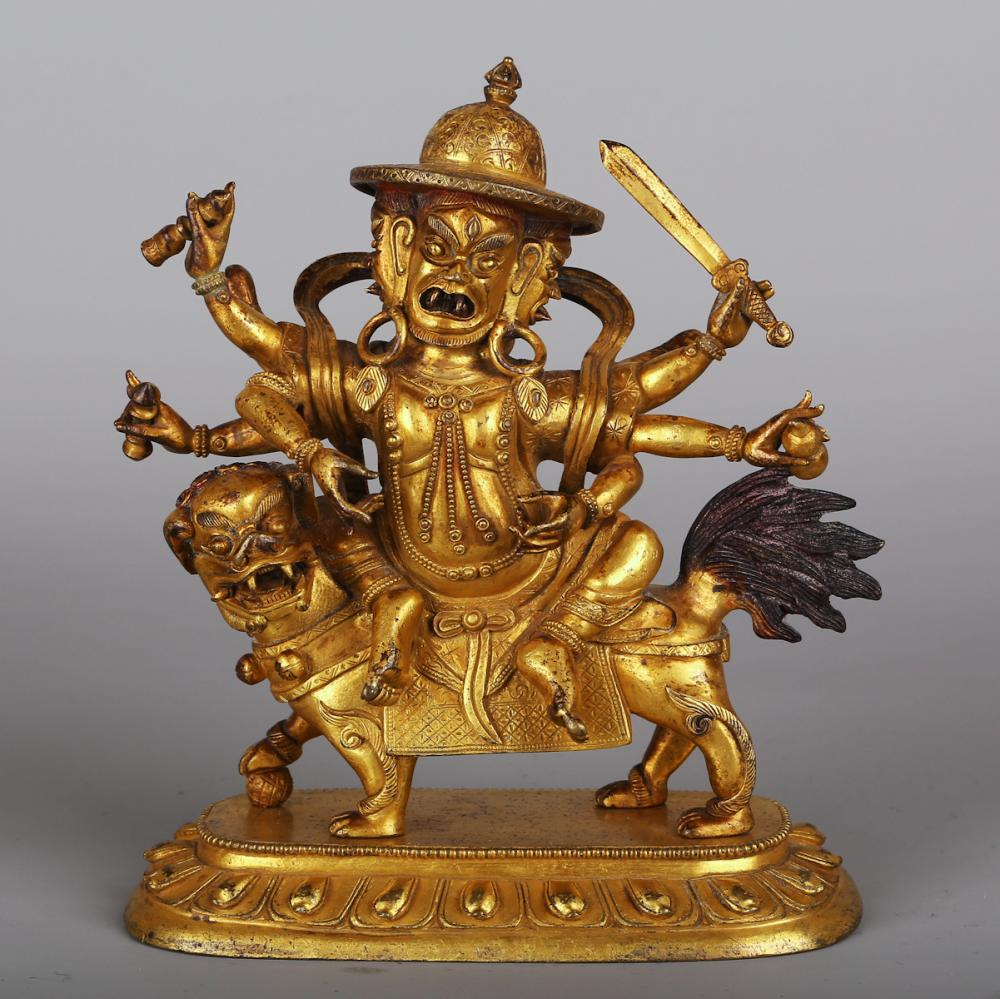 CHINESE GILT BRONZE FIGURE OF DHARMAPALA