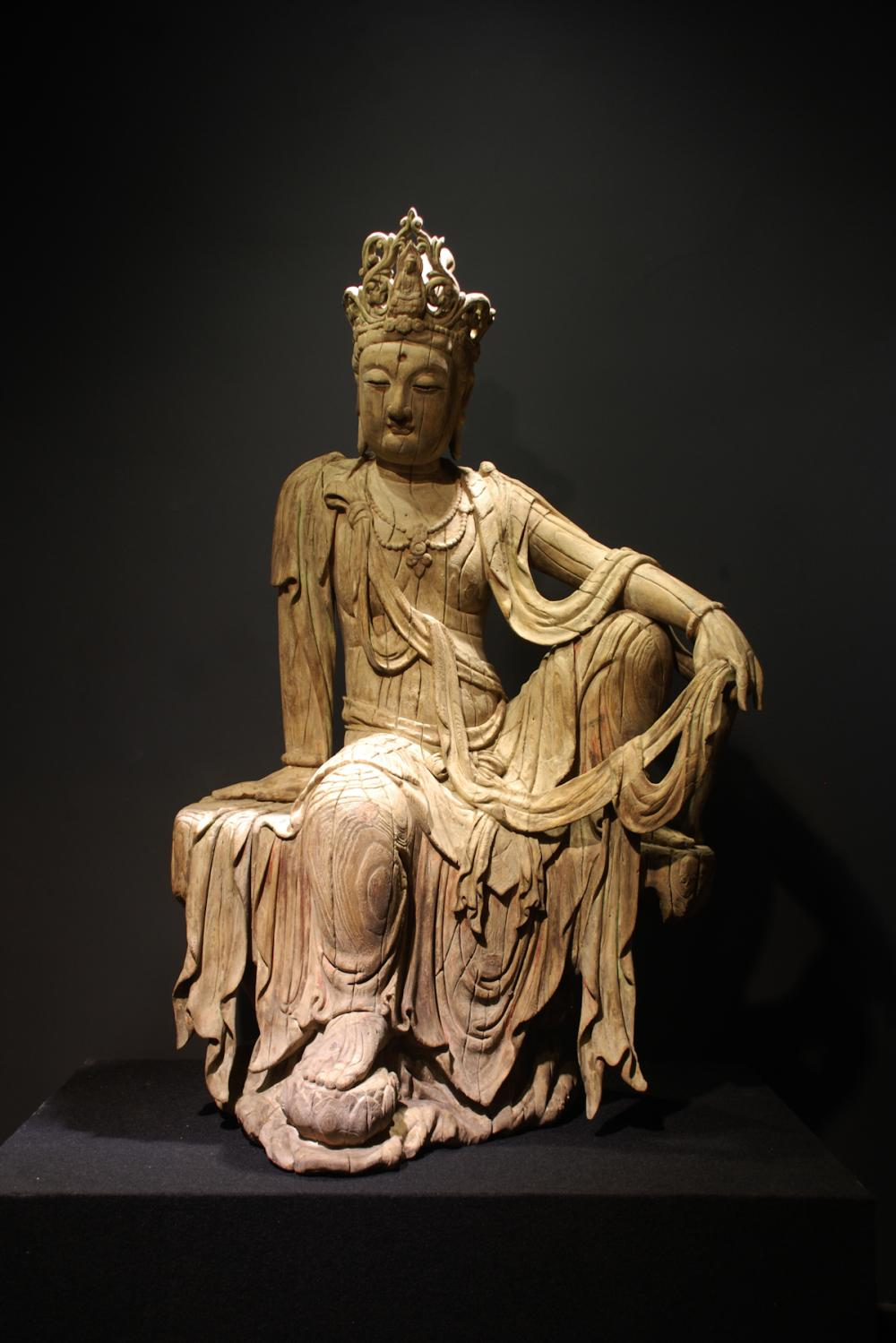 CHINESE LARGE HARDWOOD FIGURE OF GUANYIN