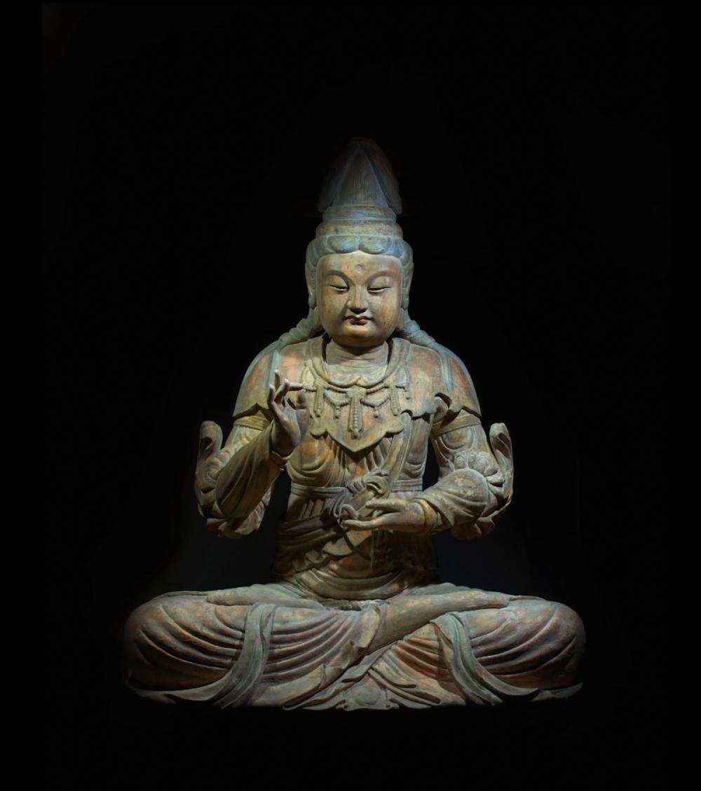 CHINESE LARGE BUDDHIST WOOD FIGURINE
