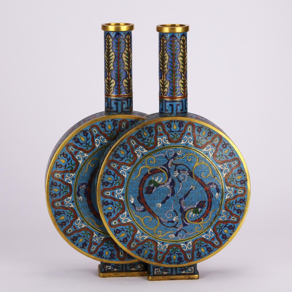 CHINESE CLOISONNE DOUBLE FLASK VASE