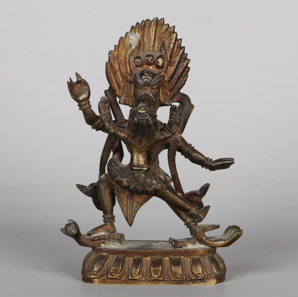 CHINESE BRONZE FIGURE OF MAHAKALA