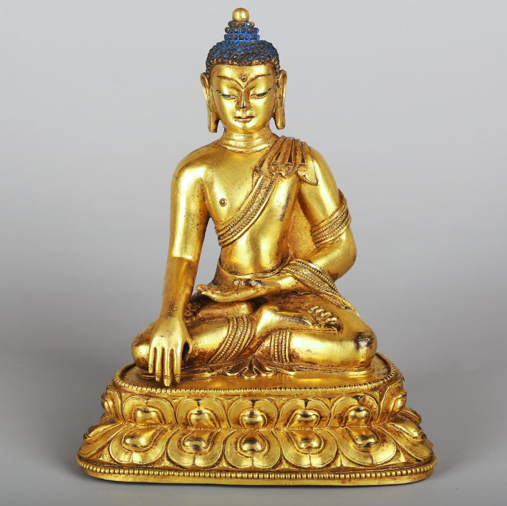 CHINESE GILT BRONZE FIGURE OF BHAISAJYAGURU