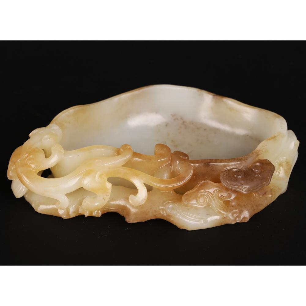 CHINESE WHITE JADE CARVED BRUSH WASHER