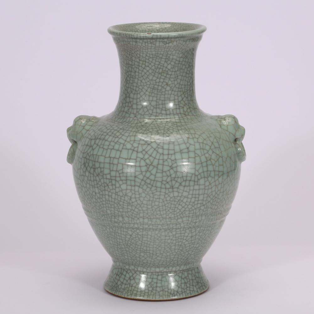 CHINESE CRACKLE GLAZED PORCELAIN ZUN VASE
