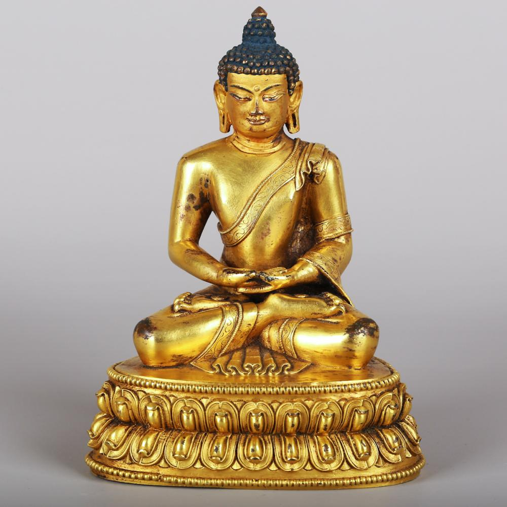 CHINESE GILT BRONZE FIGURE OF SHAKYAMUNI