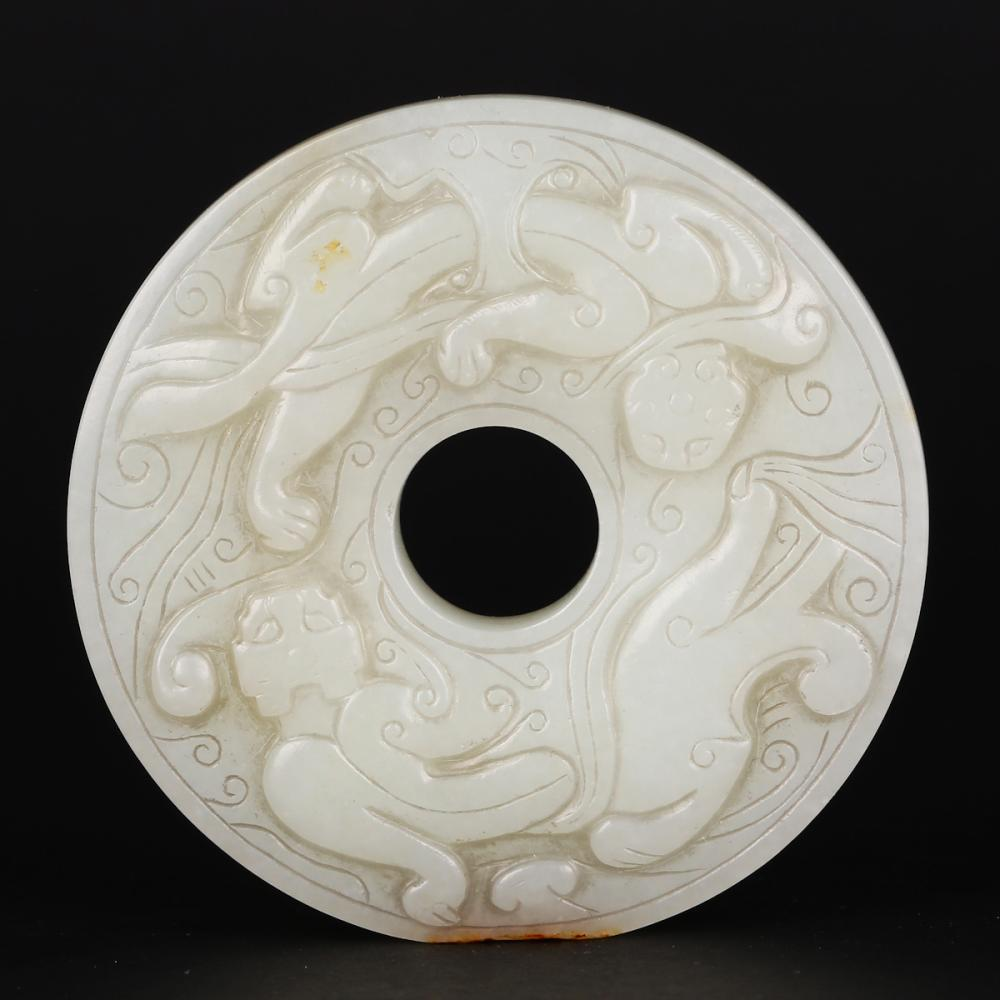 CHINESE WHITE JADE DRAGON BI DISK