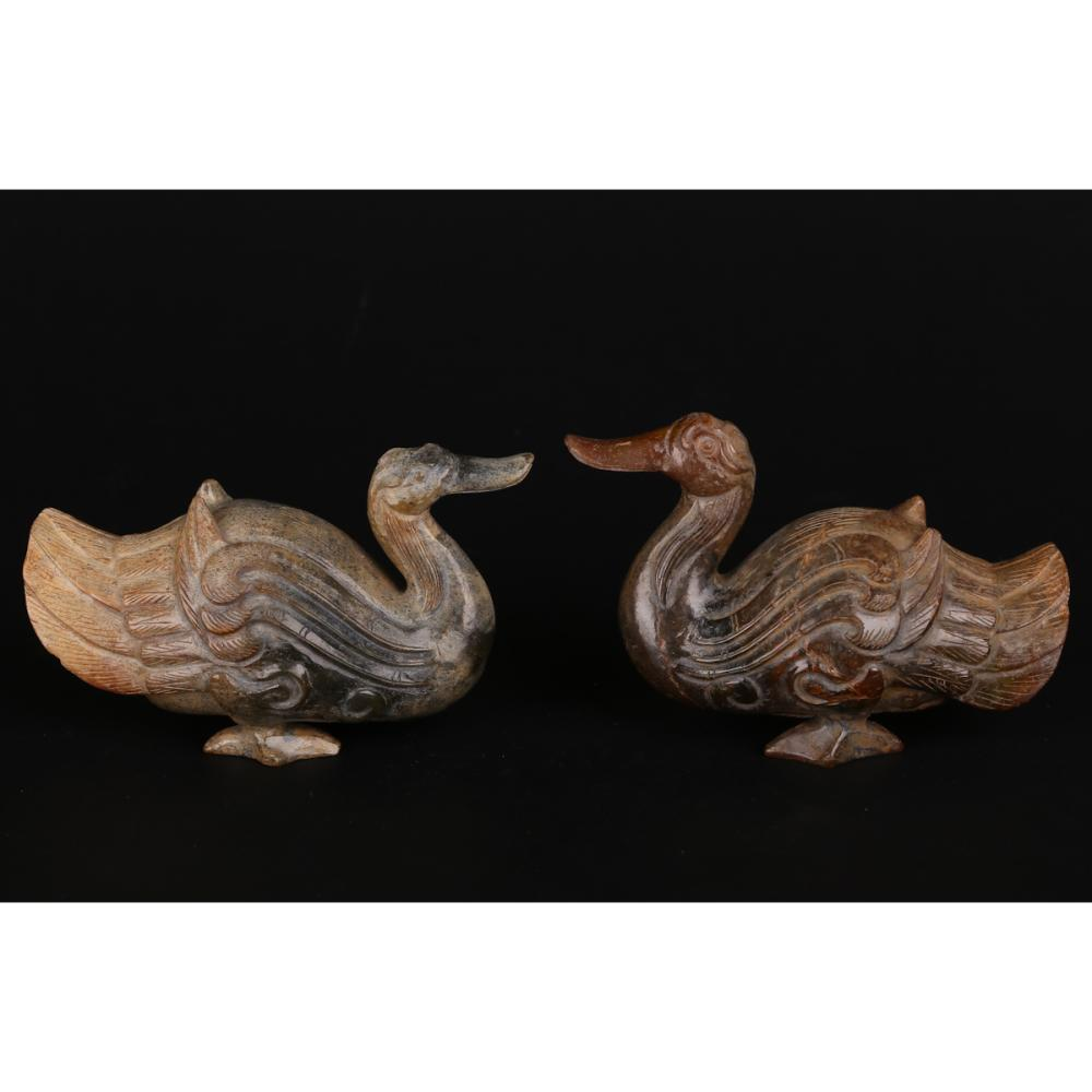 CHINESE PAIR OF JADE CARVED DUCKS