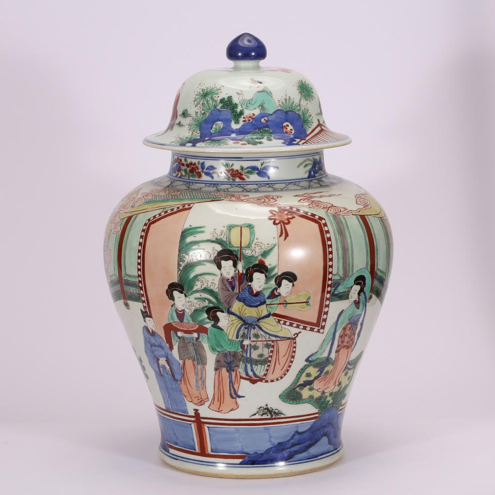 CHINESE BLUE WHITE WUCAI PORCELAIN GINGER JAR