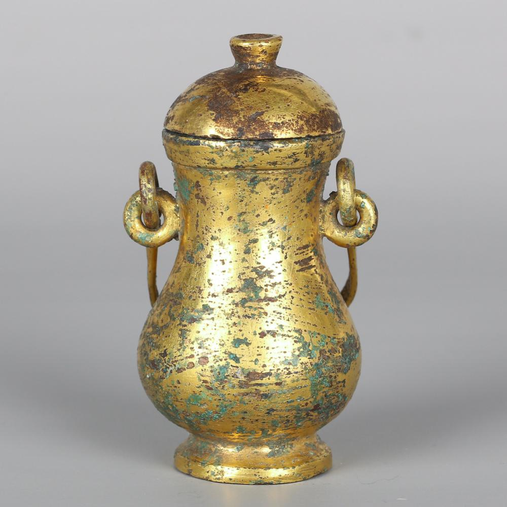 CHINESE GILT BRONZE COVER VASE
