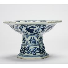 CHINESE BLUE AND WHITE STEM TRAY