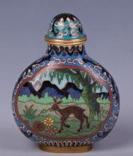 CHINESE CLOISONNE SNUFF BOTTLE DEER SCENE