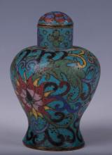 CHINESE CLOISONNE SNUFF BOTTLE MEIPING SHAPE