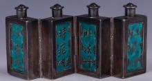 CHINESE 4 PANEL SILVER ENAMEL SNUFF BOTTLE