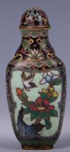 CHINESE CLOISONNE SNUFF BOTTLE, BIRD SCENE