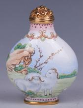 CHINESE BRONZE ENAMEL CLOISONNE SNUFF BOTTLE