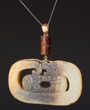 CHINESE ARCHAISTIC JADE DRAGON PENDANT ON CHAIN