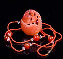 CHINESE QING DYNASTY AGATE PENDANT NECKLACE
