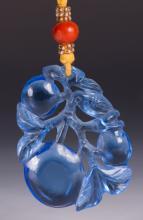 CHINESE BLUE PEKING GLASS PEACH PENDANT