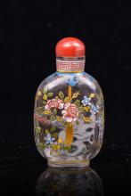 CHINESE ENAMEL ON GLASS SNUFF BOTTLE