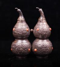CHINESE SILVER DOUBLE GOURD SNUFF BOTTLE