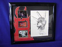 Gene Simmons autographed print featuring artwork by Gene Simmons