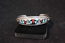Vintage RL Yuselew signed Zuni sterling silver and semi precious stone bracelet