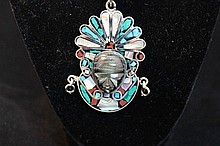 Sterling silver and semi precious stone Native American necklace
