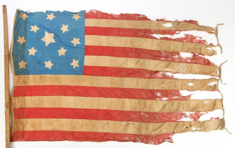 VERY EARLY THIRTEEN STAR AMERICAN FLAG