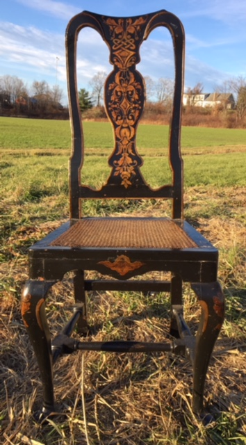 QUEEN ANNE PAINTED SIDE CHAIR WITH CANE SEAT
