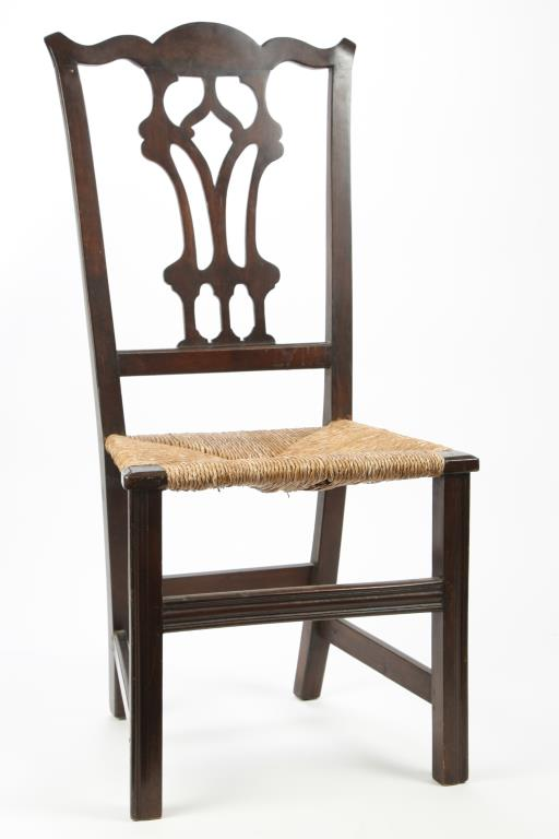 CHIPPENDALE MAHOGANY SIDE CHAIR with RUSH SEAT