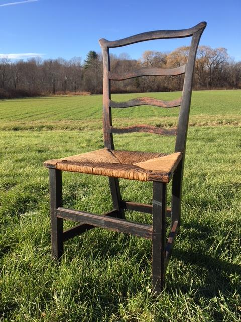 (18th/ 19th c) RIBBON BACK SIDE CHAIR w/ RUSH SEAT