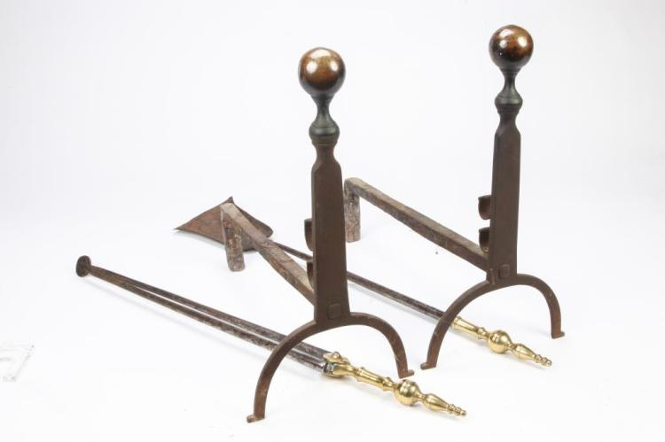 GREAT PAIR OF BRASS BALL TOP ANDIRONS & TOOLS