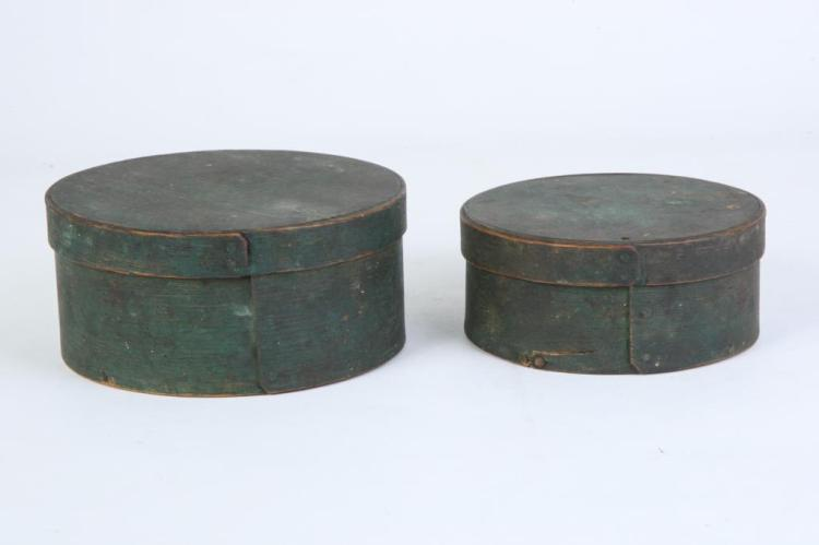 (2) ROUND PANTRY BOXES IN GREEN PAINT
