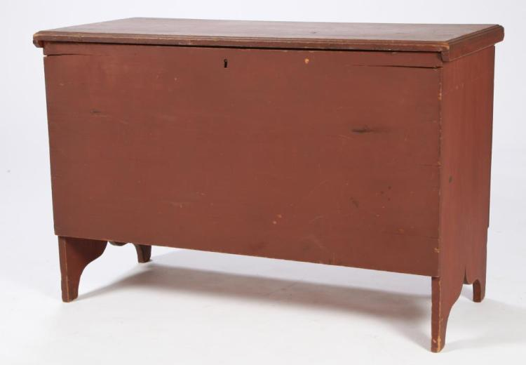 (6) BOARD CHEST IN RED PAINT