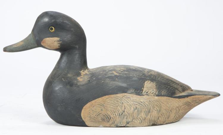 CARVED AND PAINTED YELLOW EYE DECOY