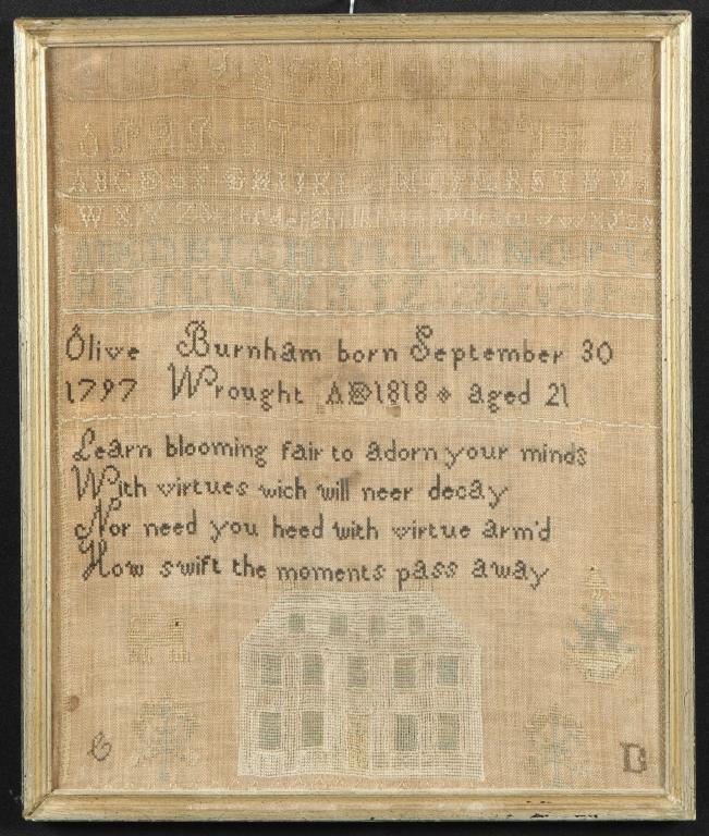 1818 SAMPLER by OLIVE BURNHAM / IPSWICH FAMILY
