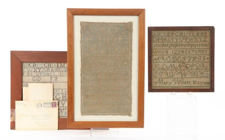 (3) SAMPLERS with TIES TO IPSWICH,MA / CHOATE etc