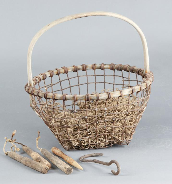 EARLY CLAMMING BASKET and OTHER RELATED ITEMS