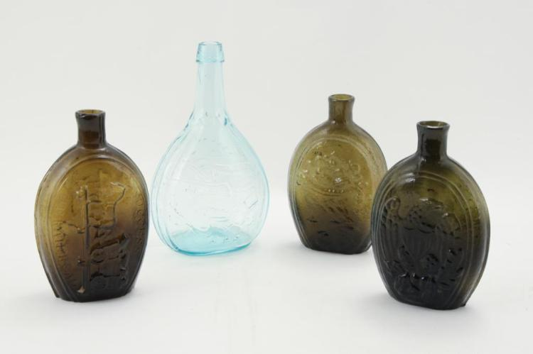 (4) BLOWN GLASS BOTTLE FLASKS