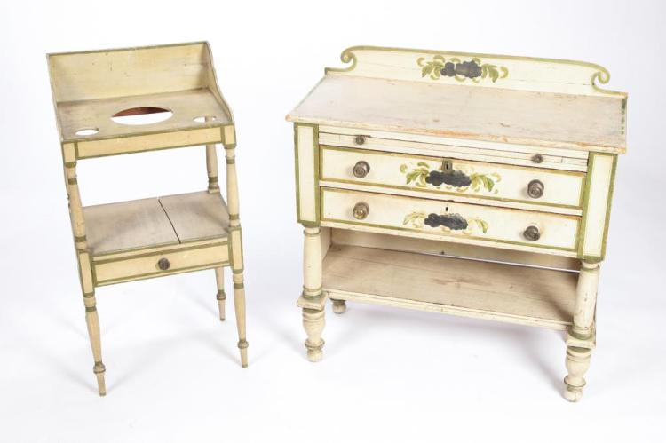 FANCY PAINTED DRESSER AND WASHSTAND circa 1830