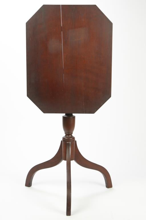 MAHOGANY TILT-TOP CANDLESTAND with OCTAGONAL TOP