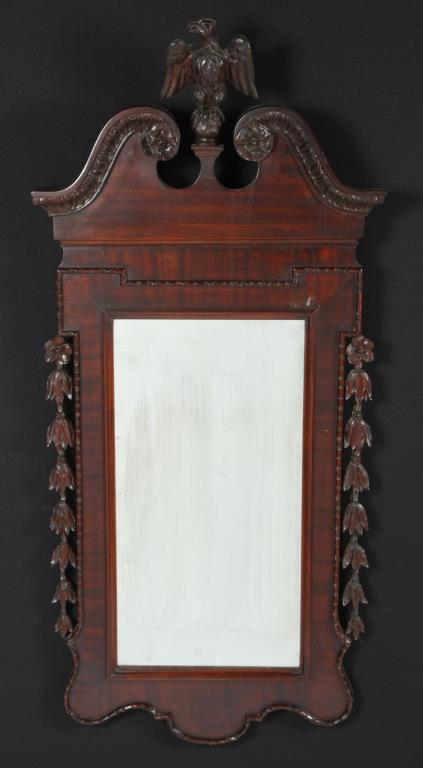 EAGLE & BELL FLOWER CARVED MAHOGANY LOOKING GLASS