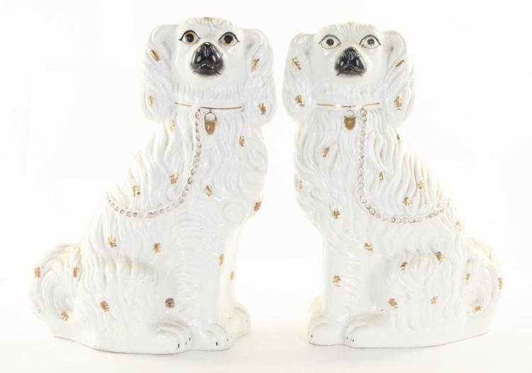 PAIR OF LARGE STAFFORDSHIRE SPANIELS