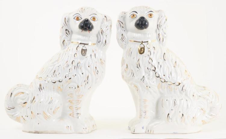 PAIR OF (19th c) STAFFORDSHIRE DOGS