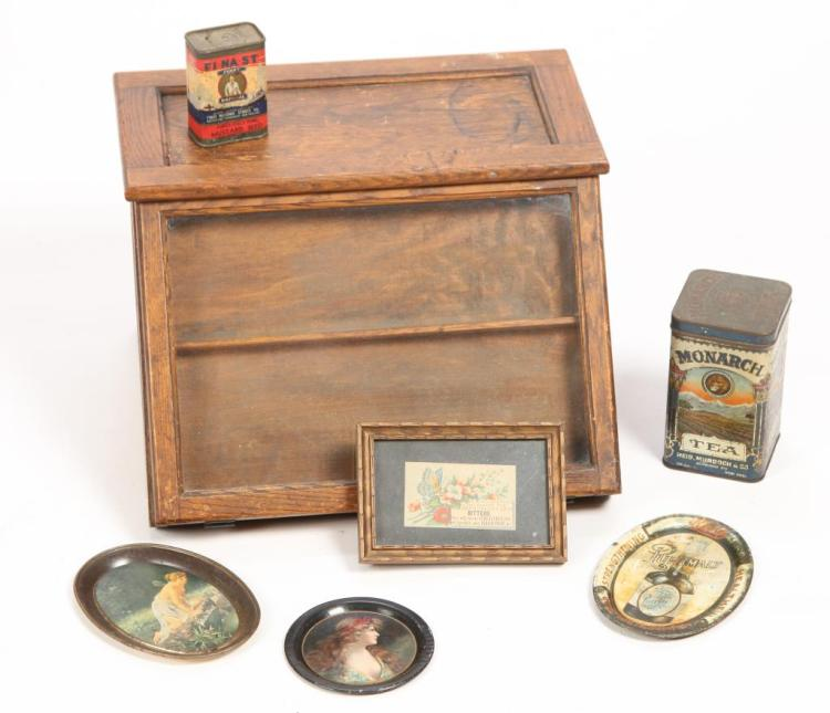 COUNTRY STORE DISPLAY CASE & ADVERTISING TINS